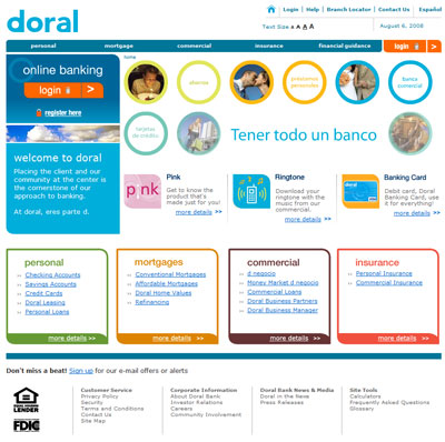 A clean layout created to showcase the re-branding of Doral Bank in Puerto Rico.