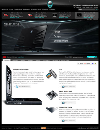 The Alienware m9750 homepage. From design comps I created a clean layout that employed not only flash video above the product info, but multiple testimonial videos that required some custom fixes for flash issues that popped up under Mac systems